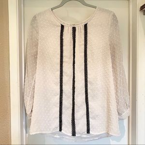 Jcrew Cream blouse with black striped accent